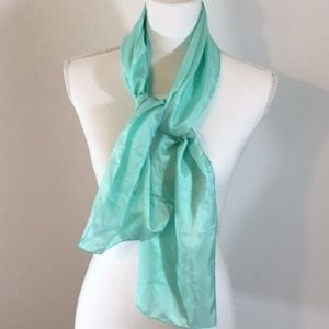"Accessories - Mint Green Silk Scarf Hand Rolled 11"" x 52"""